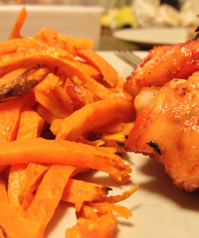 Гратен с куриным филе и бататом
