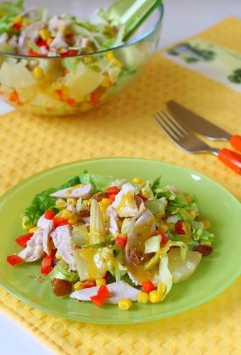 Салат курица с ананасом шампиньоны