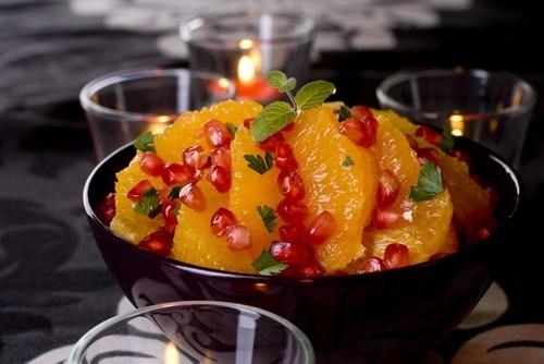 Теплый салат с апельсинами