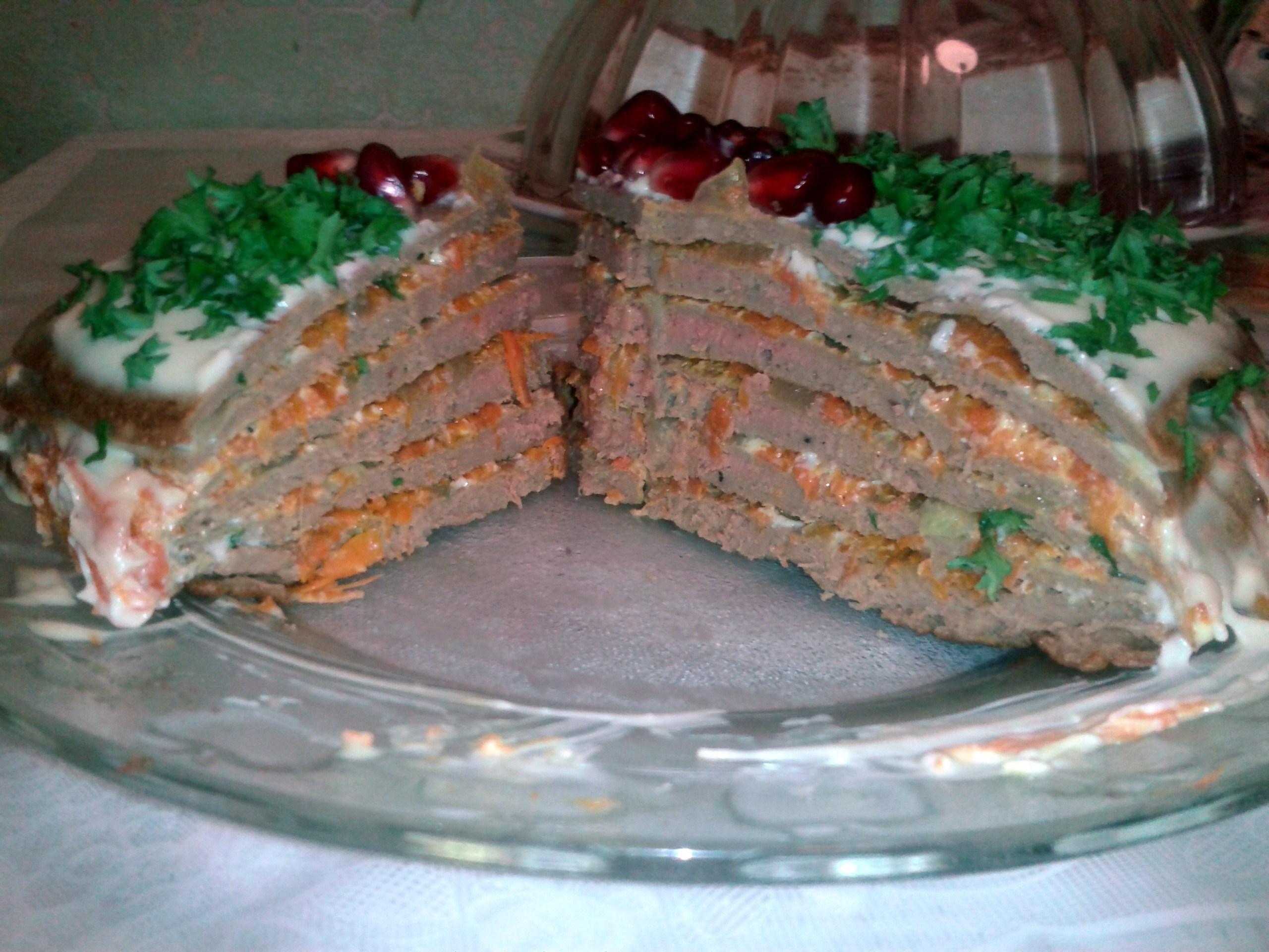 Рецепт печеночный торт из свиной печени фото пошагово
