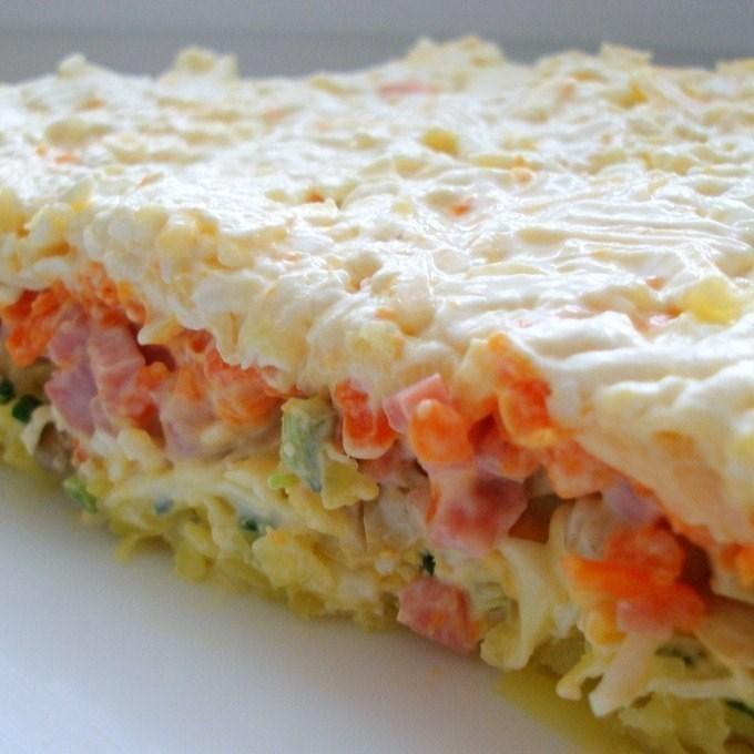салат слоёный с грибами и курицей рецепт с фото