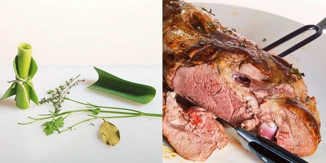 Букет гарни — это тимьян, петрушка и лавровый лист, завернутые впорей. Чтобы срезать баранину с кости, используйте нож с тонким лезвием.