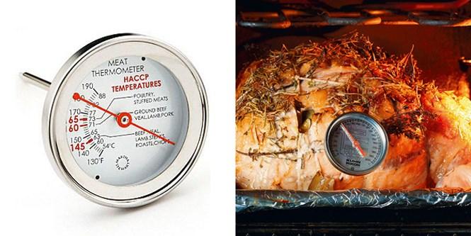 Запекая крупные куски мяса и тушки птиц, нелишне иметь в арсенале мясной термометр: по внешнему виду невозможно догадаться о степени готовности мяса, нужно знать внутреннюю температуру.