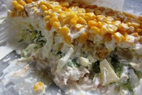 Салат из курицы грибов ананасов кукурузы — 2