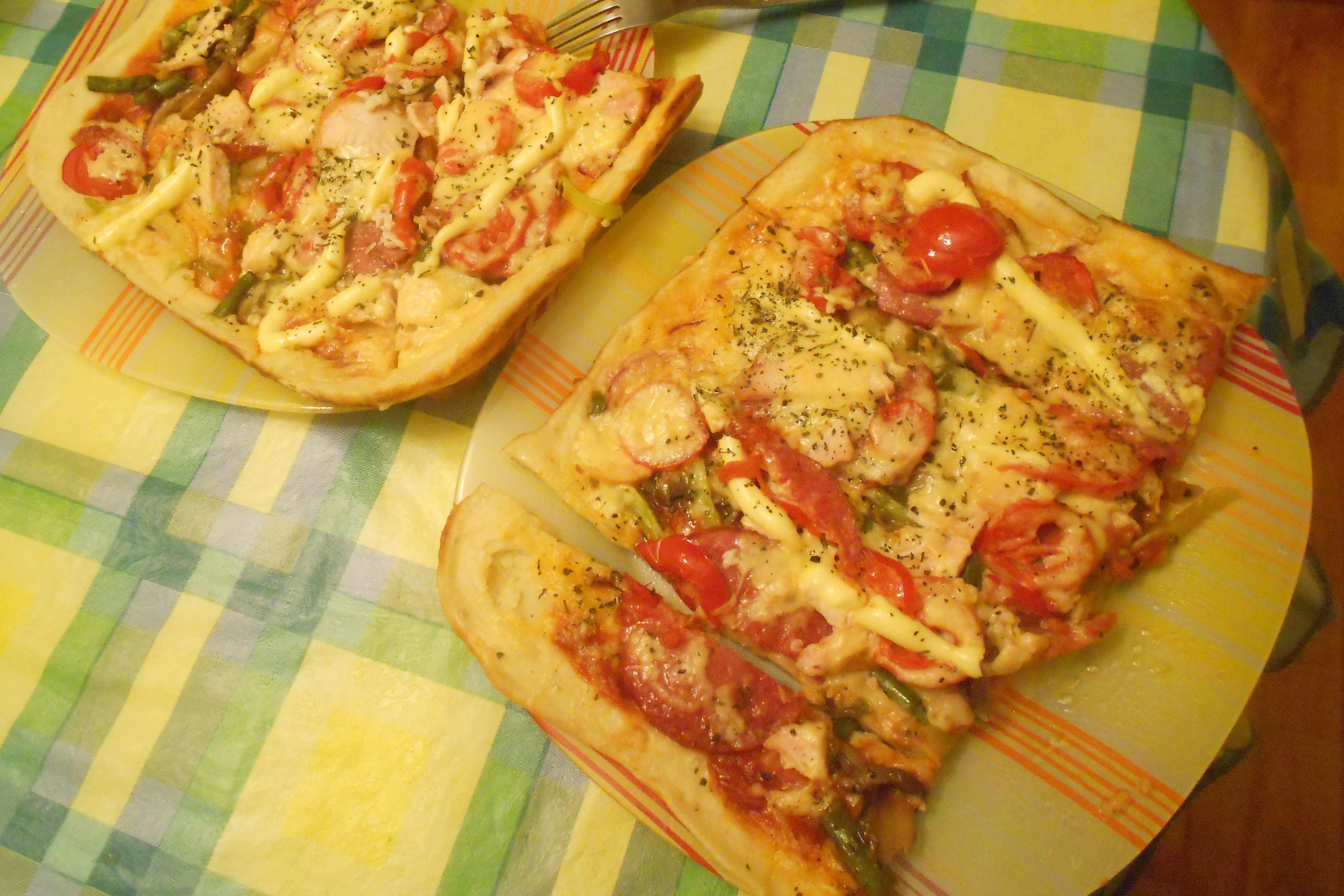 Пицца с грибами и курицей пошаговое